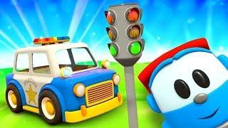Léo o caminhão curioso. Carro de Polícia. Animação infa...