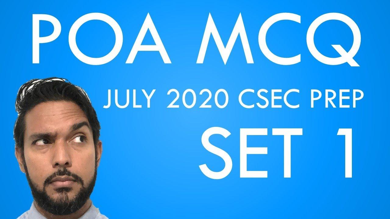 Download PoA MCQ questions Set 1 | CSEC PoA P1 practice questions | CSEC PoA July 2020 MCQ prep
