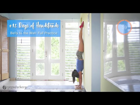 Belly the Wall and Stretching • Full Practice | YogaSlackers 12 Days of Handstands