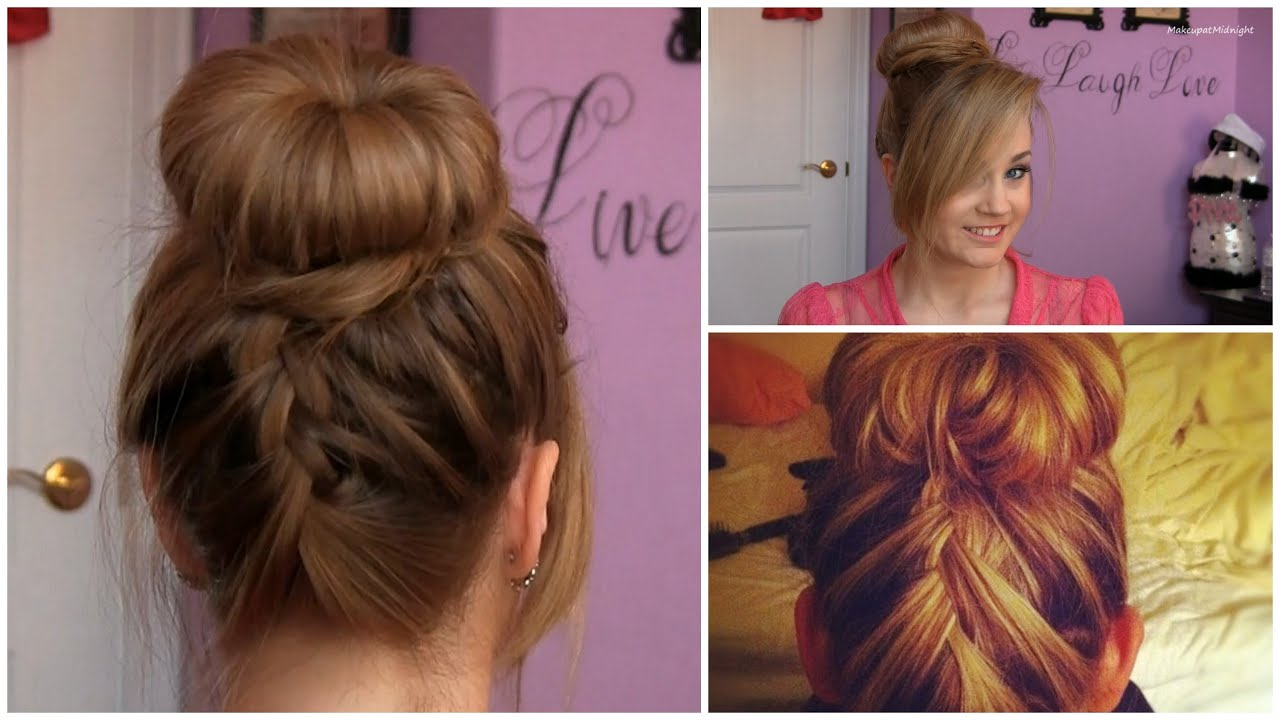 sock bun with upside-down french braid tutorial (5 min updo) - youtube