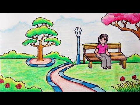 Cara Menggambar Pemandangan Taman Bermain Dengan Oil Pastels Youtube