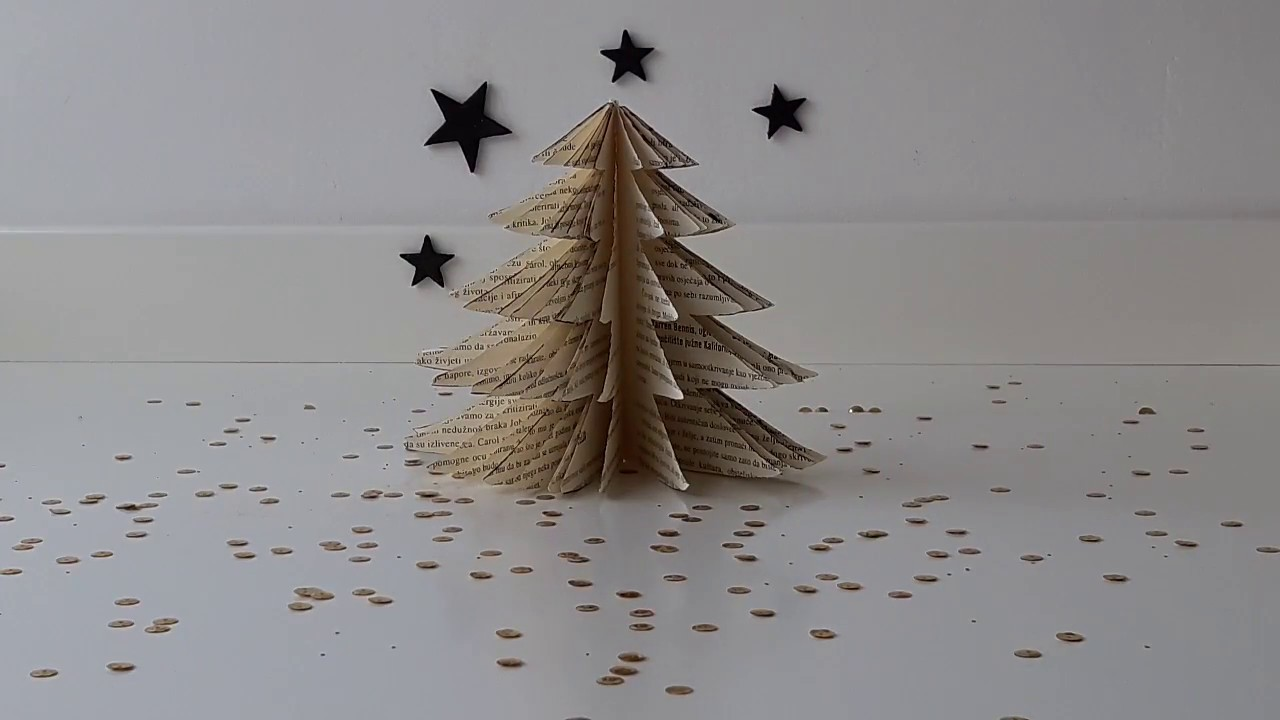 Old book christmas tree home decor youtube for Christmas tree made from old books