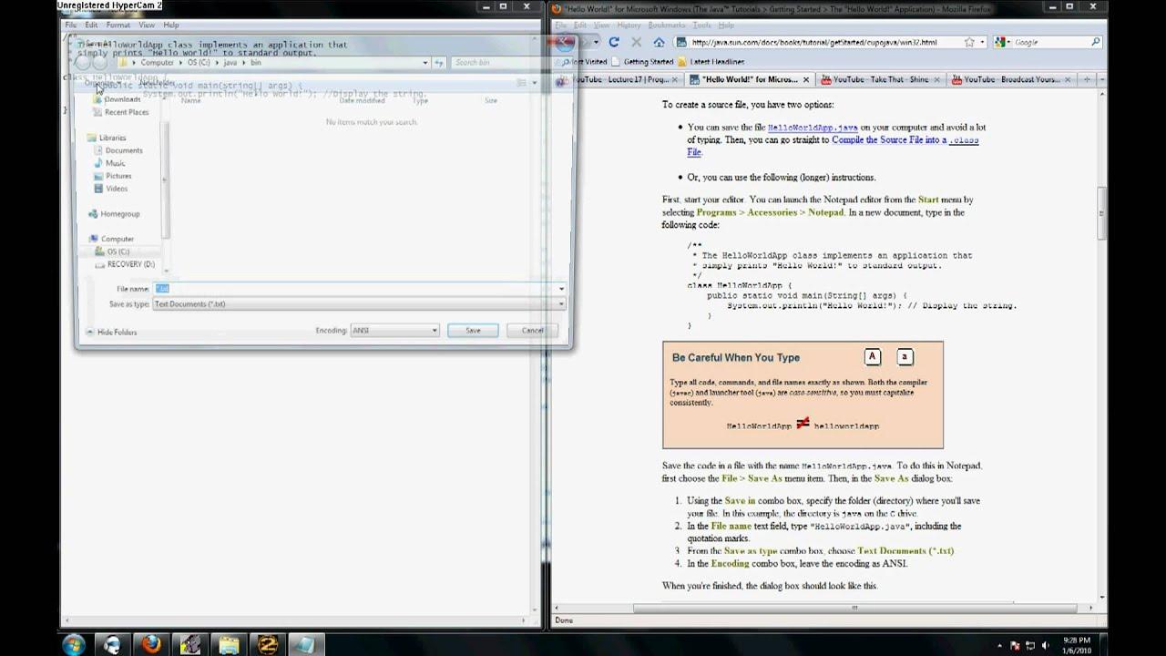 Sun Java Tutorial - Video Walkthrough #1: