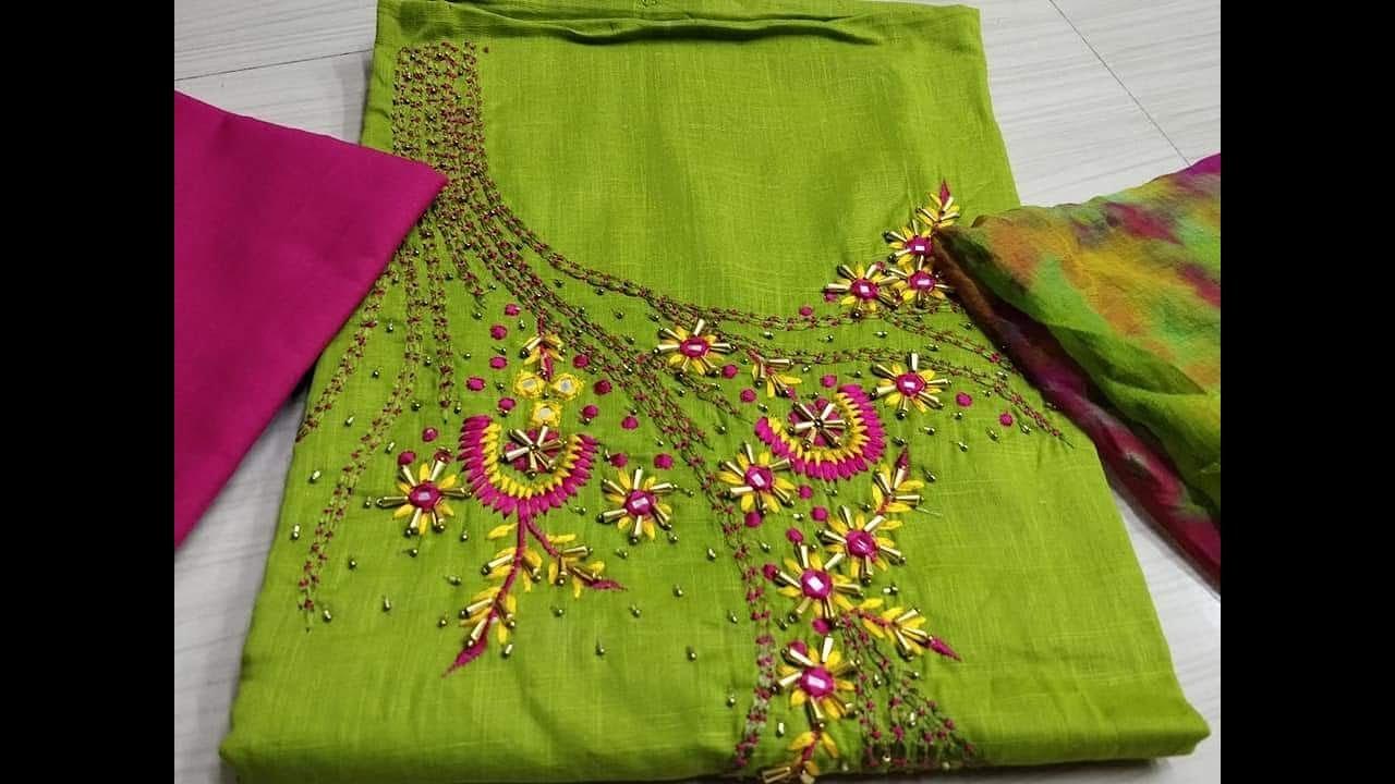 6448461603 Chanderi Silk Hand Work Designer Dress Material || Top chanderi silk hand work  dress material