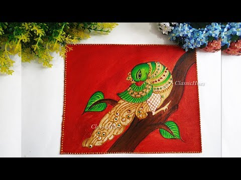 DIY Parrot Tanjore Style Painting || Acrylic Painting