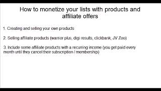 6. How to Monetize Your List With Products & Affiliate Offers