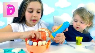 Пластилин Плей До. Набор Доктор Зубастик. Clay Play-Doh. Set Dr. Drill.