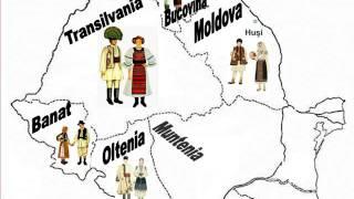 The map of Romanian folk costumes regions