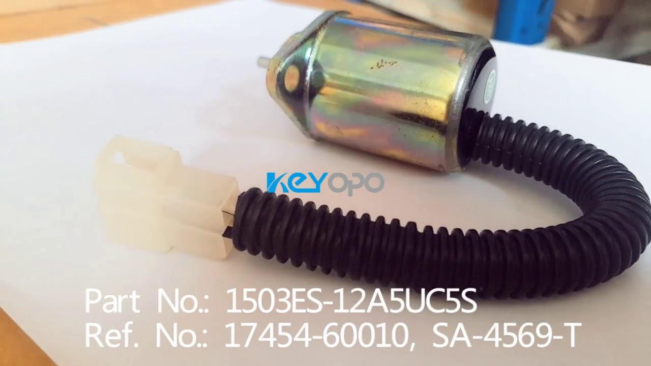 medium resolution of 12v dc fuel shutdown solenoid kubota sa 4569t 1503es 12a5uc5s sa 3776 t
