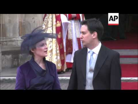 Members of the royal family and dignitaries leave Westminster Abbey after the wedding of Prince Will