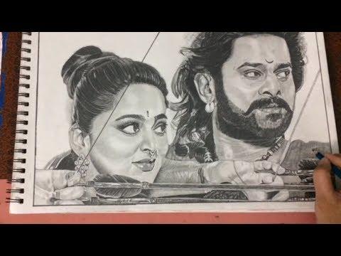Bahubali I Drawing Bahubali   Prabhas and Anushka I ...