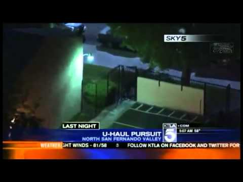 LAPD San Fernando Valley Police Chase U Haul Truck NEW 2013 APRIL Police  Pursuit