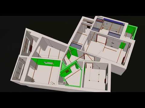 Перепланировка 4 комнатной квартиры в панельном доме. (Sketchup Presentation)