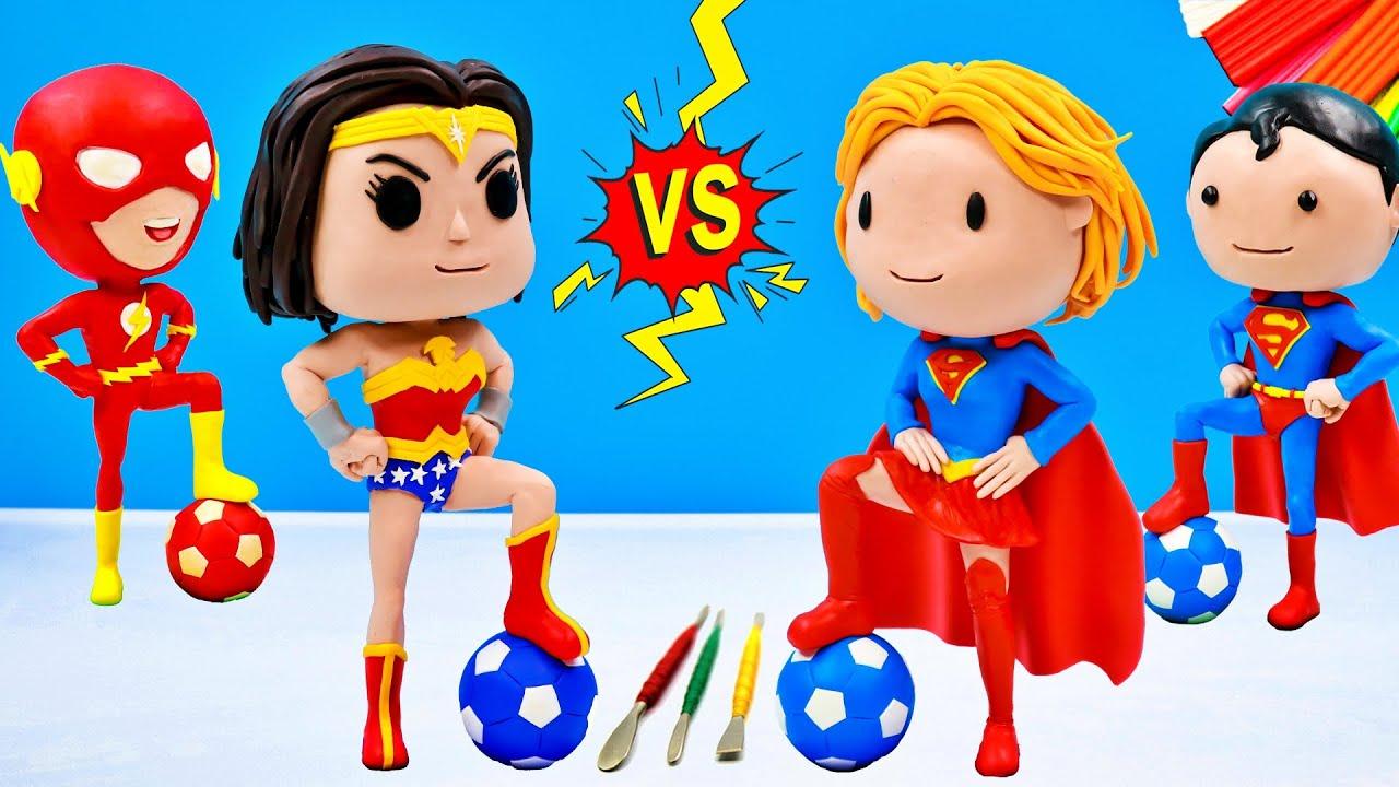 SuperGirl vs Wonder Woman play football with clay ️⚽️ Superheroes DC Comics ️⚽️ Polymer Clay Tutoria