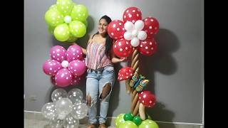 como hacer una flor con globos paso a paso/ flowers balloons flores aereas