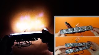 DRL LED Car Daytime Running Lights 6 LEDs DC 12V - Unpacking and Testing