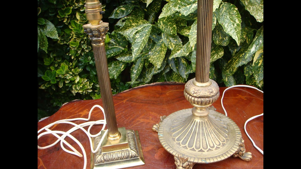 Vintage brass table lamp with corinthian column 3 branch floor vintage brass table lamp with corinthian column 3 branch floor lamp see video youtube geotapseo Choice Image