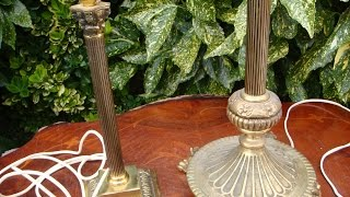 Vintage Brass Table Lamp With Corinthian Column & 3 Branch Floor Lamp See Video