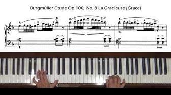Burgmuller Op. 100, No. 8 La gracieuse (Grace) Piano Tutorial
