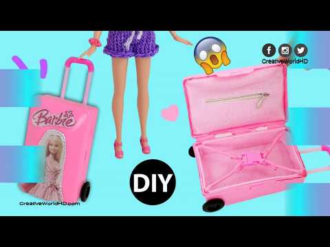 DIY Mini Suitcase for Doll Dollhouse Accessories Miniature Barbie Rolling Luggage mp4