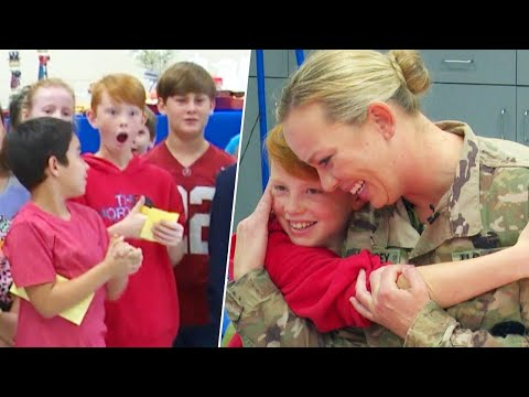 Soldier Wears Mascot Costume to Surprise Son at School After a Year Apart