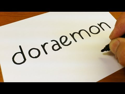 How To Turn Words DORAEMON Into A Cartoon -  Drawing Doodle Art On Paper