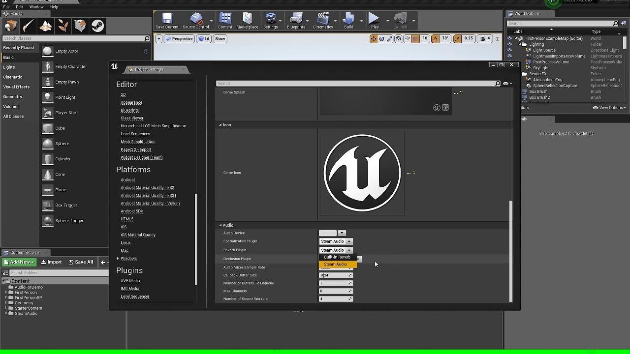 Unreal Engine Steam Audio Tutorial (HRTF) 4 19 2 Part2