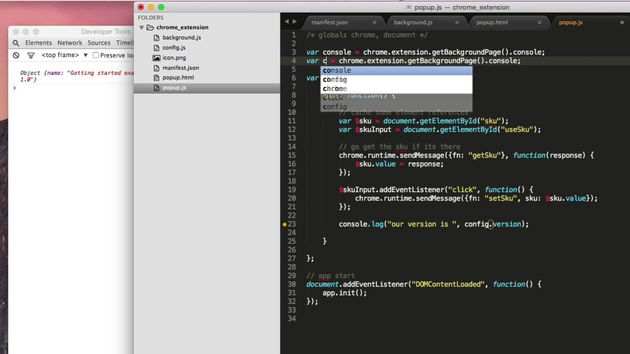 Chrome Extension Using a Config js File (Easy)