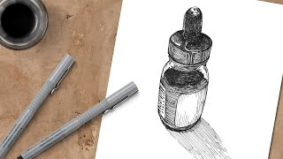 Pen and Ink Draẁing - Ink Bottle with Cross Hatching