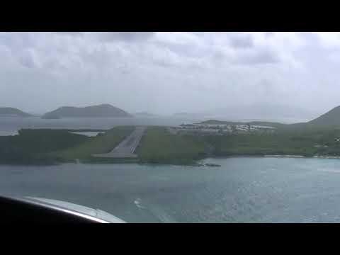 Cockpit View Landing in British Virgin Islands, EIS Tortola - Before Hurricane Irma - in Cessna 402