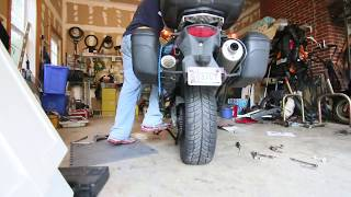 How to install a happy trails centerstand on a dl650