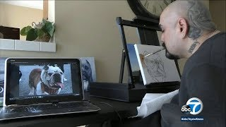 Quadriplegic artist in Whittier defies odds, uses mouth to paint   ABC7