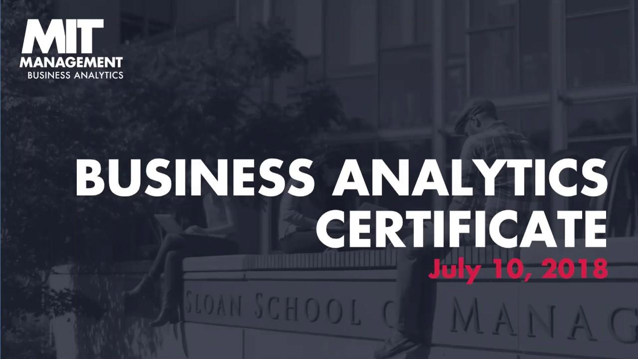 Sloan Mba Webinars Business Analytics Certificate Youtube