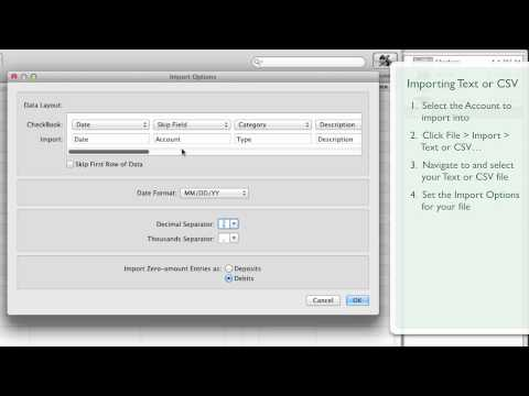 CheckBook •Importing a Tab-delimited Text or CSV file