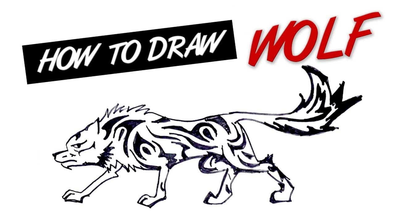 How To Draw Wolf Tribal Tattoo Design #13