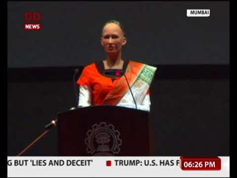 World's First Robot Citizen Sophia visits IIT Bombay