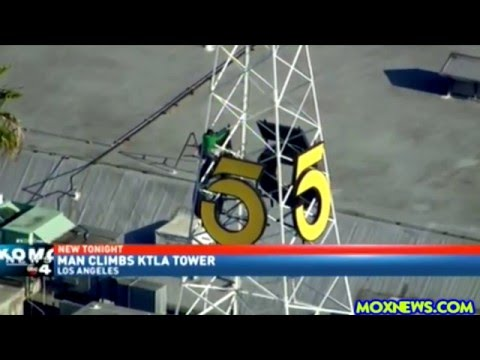 Man Climbs KTLA Television Tower In Los Angeles