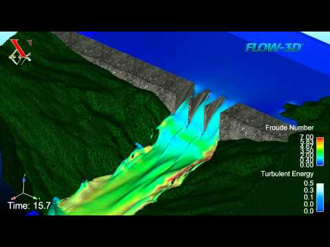 Flow-3D hydraulic simulation - Dammed river reservoir draining - Flow over a Spillway