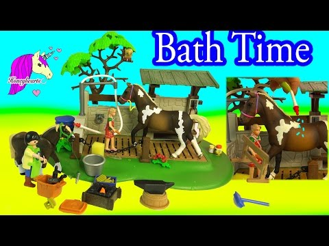 Playmobil + Schleich Bath Time Water Play Horse Playset - Unboxing Video Honeyheartsc