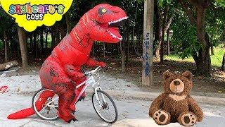 Red T-Rex adopts a bear!!