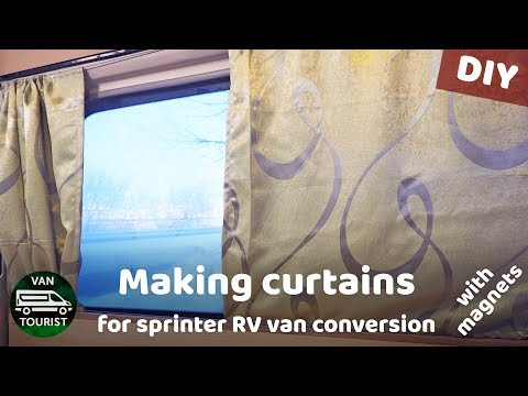 Making curtains with magnets for van conversion. Sprinter RV diy sunblocking curtains/shades