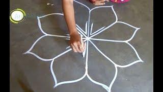 Round flower rangoli designs/Simple Art alpana designs/muggulu designs