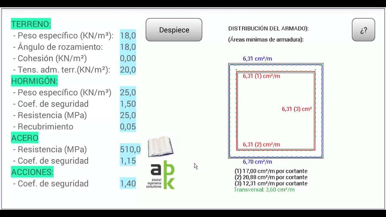 Cálculo de marcos de hormigón armado en Android - YouTube