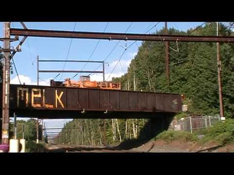 NS 95W rail train, CSX K489, NS 17G and SEPTA at Woodbourne, Pennsylvania on Semptember 15, 2009