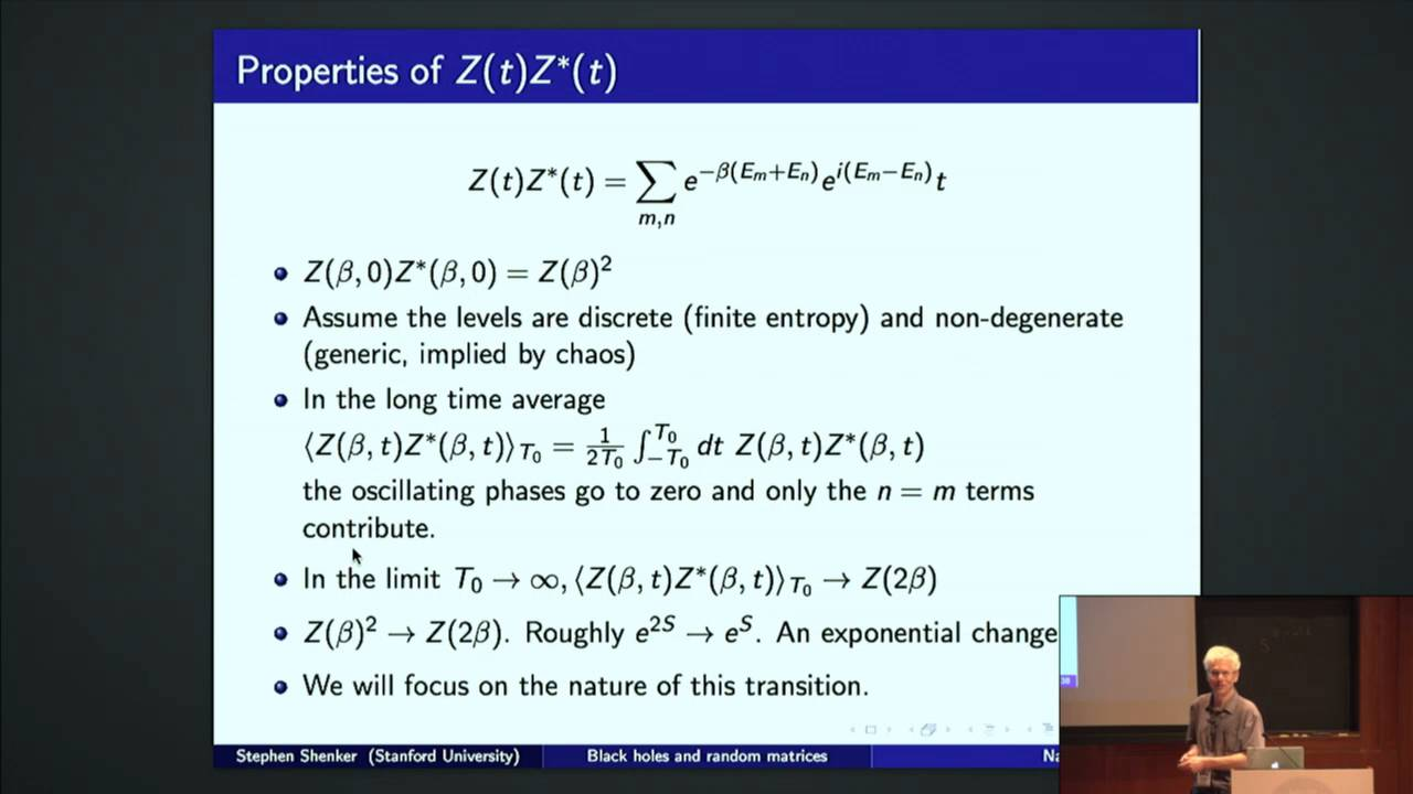 Black Holes and Random Matrices - Stephen Shenker - YouTube