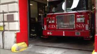 BRAND NEW FDNY TOWER LADDER 1, NEW FDNY BATTALION CHIEF 1 & MANHATTAN BOROUGH COMMAND UNIT DOWNTOWN.