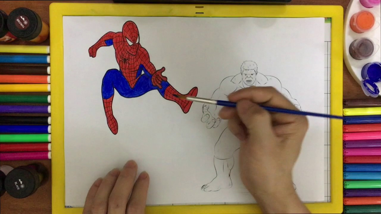 Spiderman vs vs Hulk Paint Art Coloring Pages Book - Superheroes Fighting