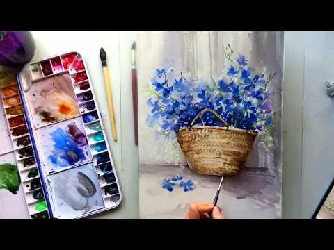 Цветы в корзинке акварелью