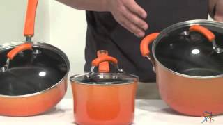 Rachael Ray Porcelain Enamel Ii 10 Piece Cookware Set Two Tone Orange - Product Review Video