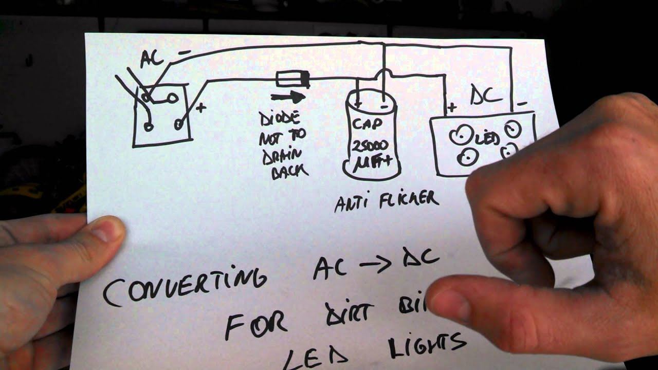 How To Covert Ac Dc For Motorcycle Led Lights Youtube Inline Switch Two Battery Wiring Diagram